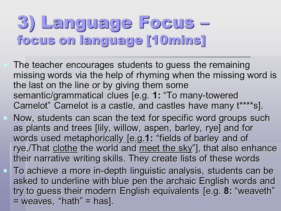 3) Language Focus – focus on language [10mins]